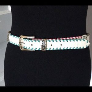 Brighton Whip Stitch Floral Accent Belt